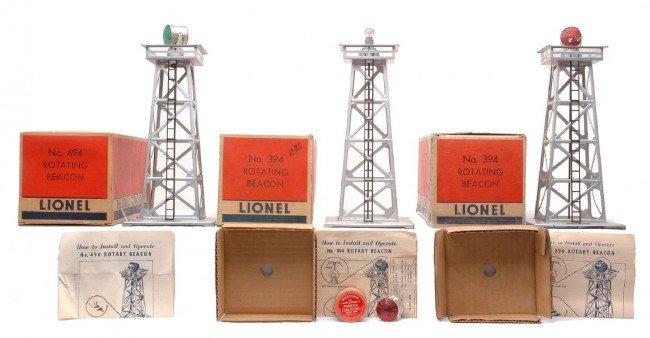 4: Lionel 494 Silver 2-395 Aluminum Beacons OBs