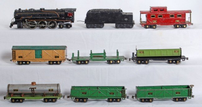801: American Flyer O gauge steam loco and freight cars