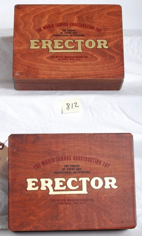 812: Two wooden Erector movie prop boxes