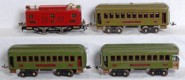 19: Lionel No. 8E loco and three S.G. passenger cars
