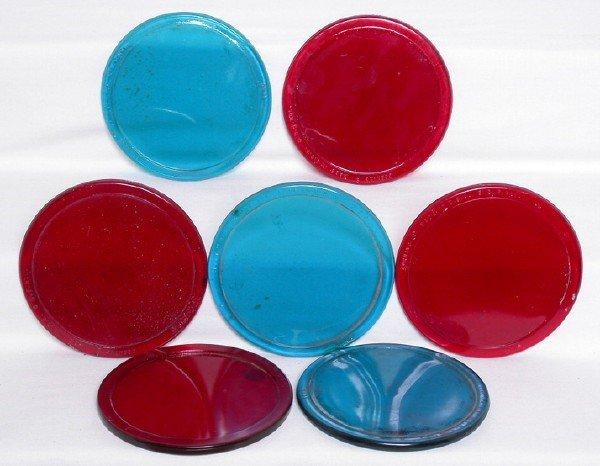 3002: Seven 5-inch red blue roundel lens Corning Kopp