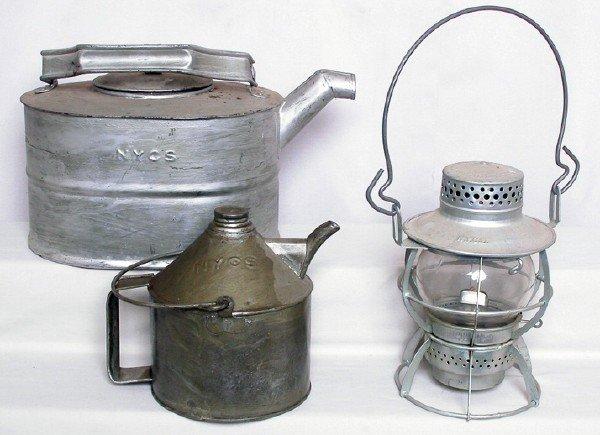 3011: New York Central System Dressel lantern, oil cans
