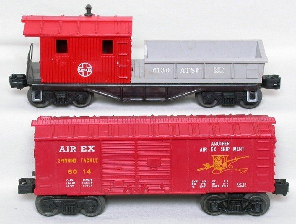 3013: Lionel 6014 red Airex boxcar 6130 ATSF caboose