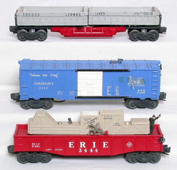 3019: Lionel operating freight cars 3359 3424 3444