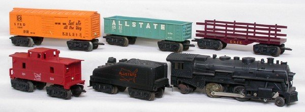 3022: Marx Allstate 6-piece steam freight set