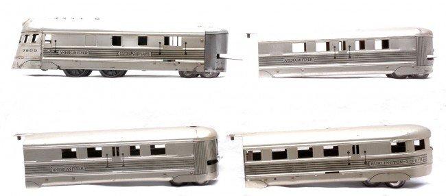 4: Am Flyer Litho Burlington Zephyr Streamliner Set