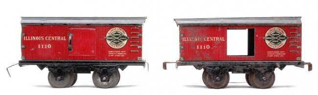 9: Am Flyer 2-1110 Litho Illinois Central Boxcars