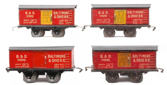 10: Am Flyer four Litho Baltimore & Ohio Boxcars