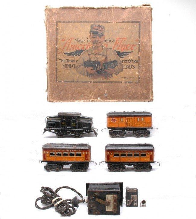 21: Am Flyer Orange Litho CM&StP Pass Set Boxed