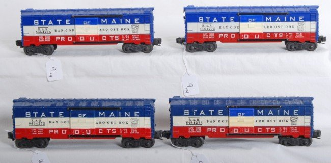 9: Four Lionel 6464-275 State of Maine BAR boxcars