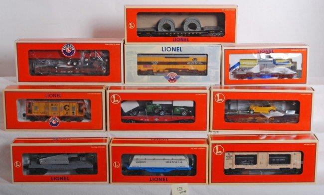 125: 10 Lionel freight cars 17522, 19572, 17648, etc