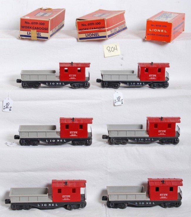 804: Six Lionel No. 6119-100 D.L.&W. caboose, 3- boxes