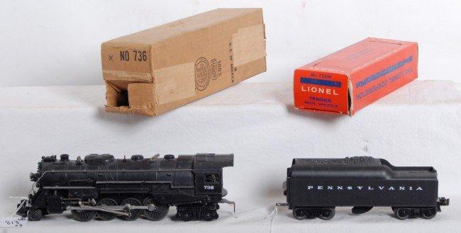 813: Lionel No. 736X steam loco and No. 736W tender in