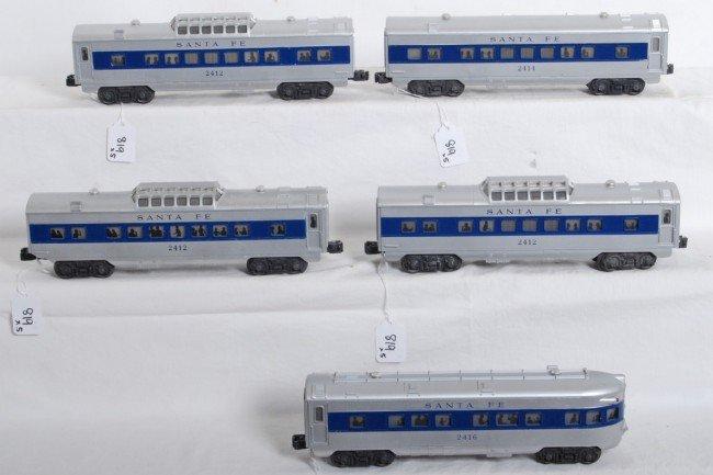 819: Lionel Santa Fe blue strip passenger cars 2412...
