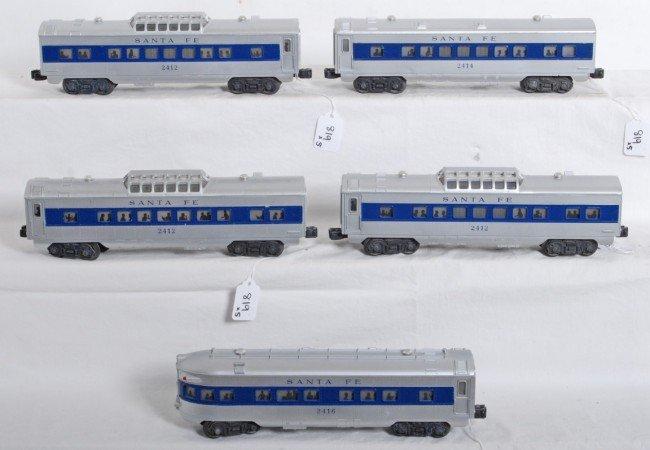 819: Lionel Santa Fe blue strip passenger cars 2412... - 2