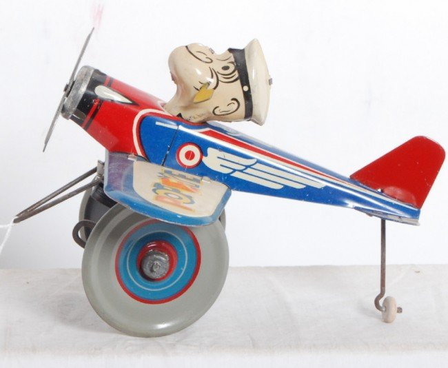888: Marx Popeye the Pilot windup tin airplane
