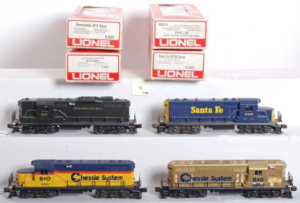 4: 4 Lionel diesel locos 8357, 8366, 8463, 8359