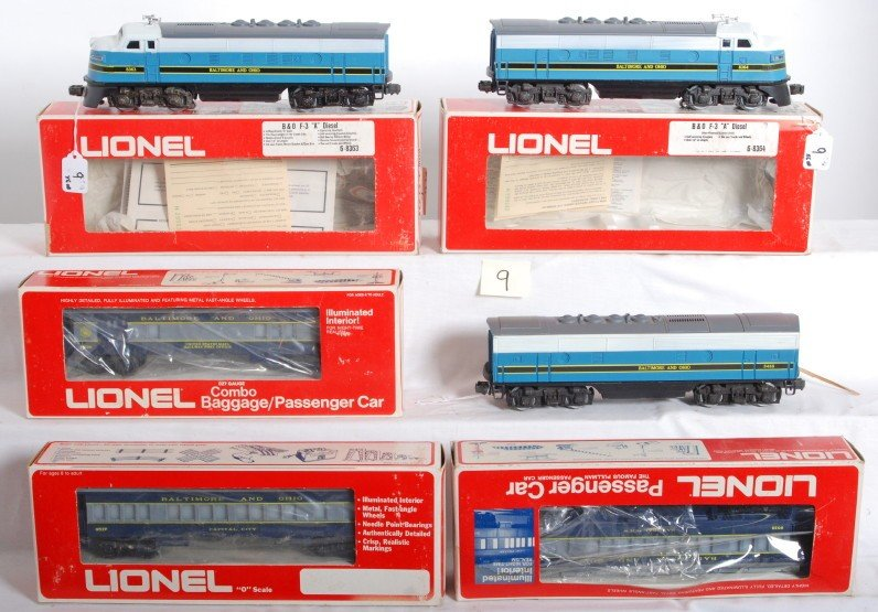9: Lionel B&O F3 ABA and 3 pass cars
