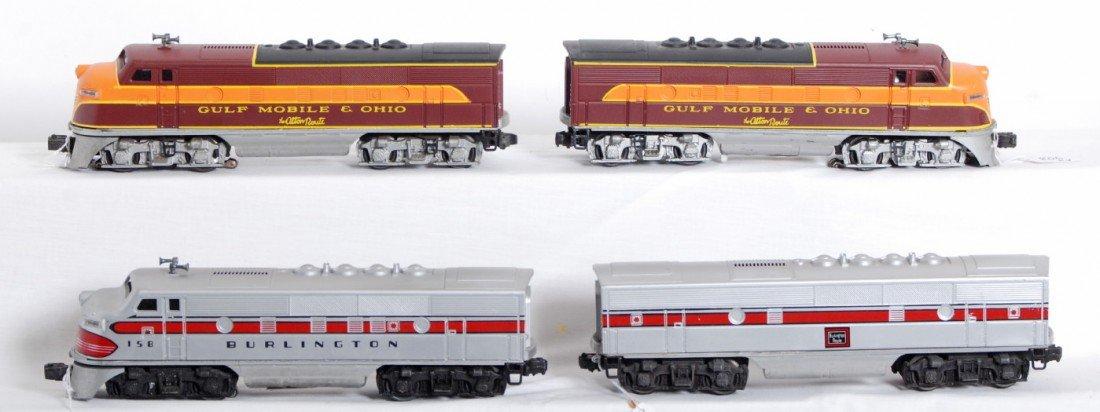 806: Four Lionel postwar diesel locos, repainted GM&O,
