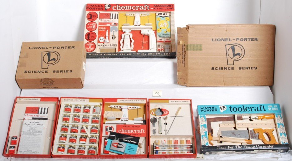 810: Four Lionel-Porter Toolcraft an Chemcraft sets in