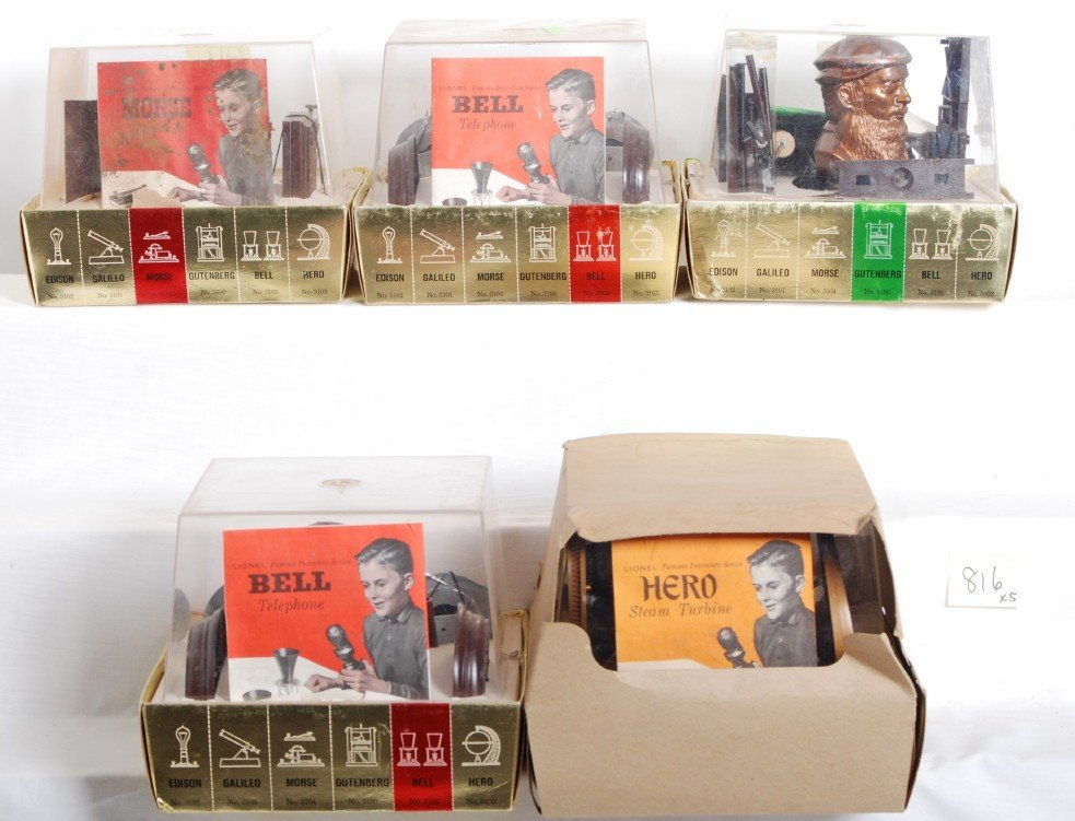 816: Five Lionel Famous Inventors Series items in OB