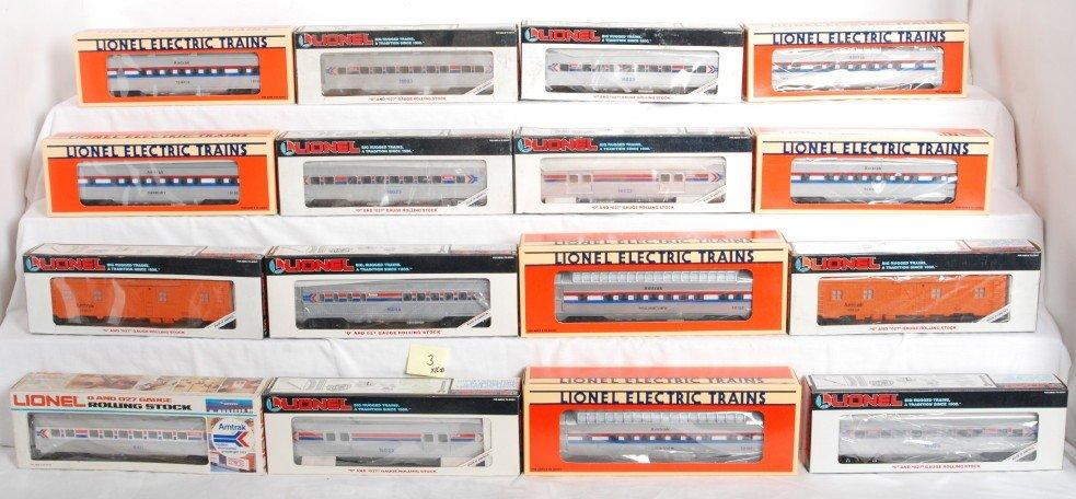 3: 16 Lionel Amtrak pass cars 15100, 16023, etc.