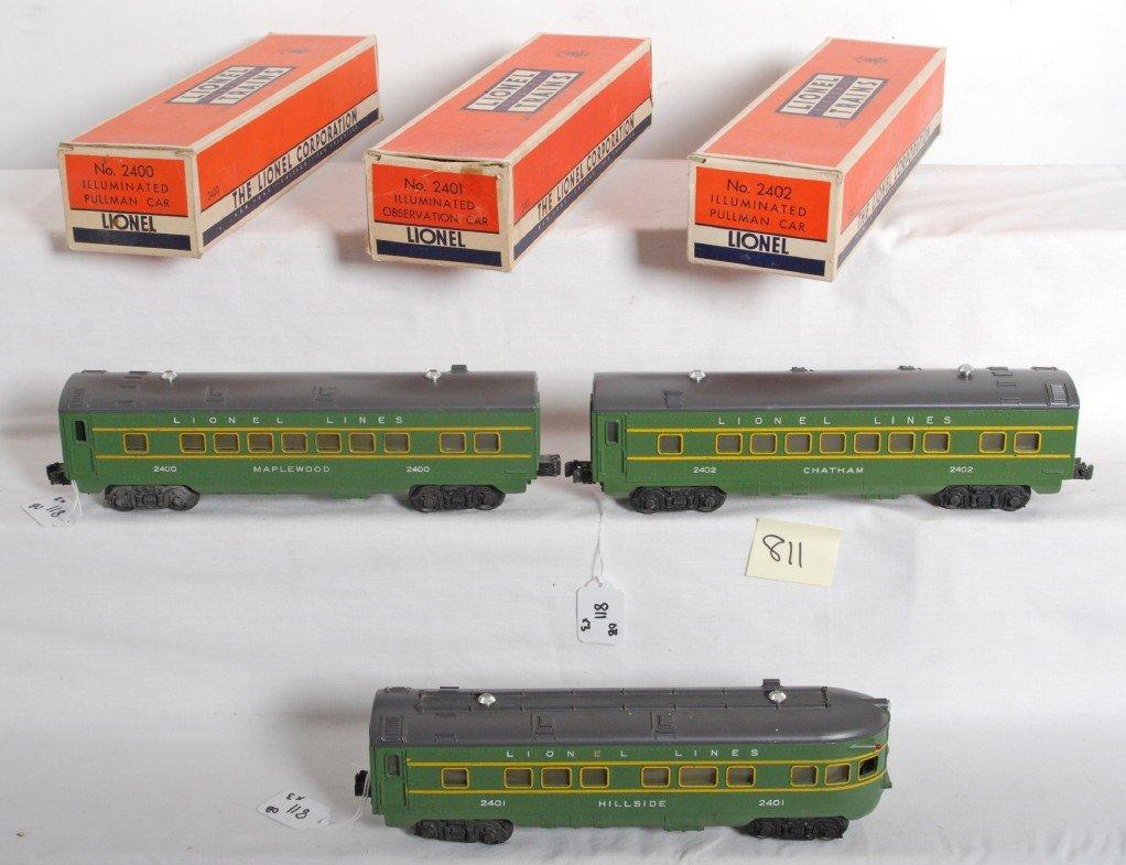 811: Lionel 2400, 2401, 2402 passenger cars in OB