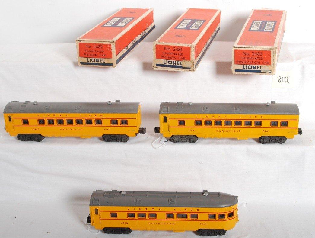 812: Lionel 2481, 2482, 2483 U.P. passenger cars in OB