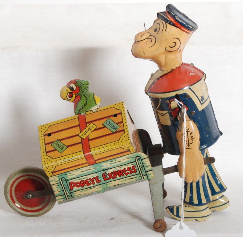 925: Popeye Express windup litho tinplate animated figu