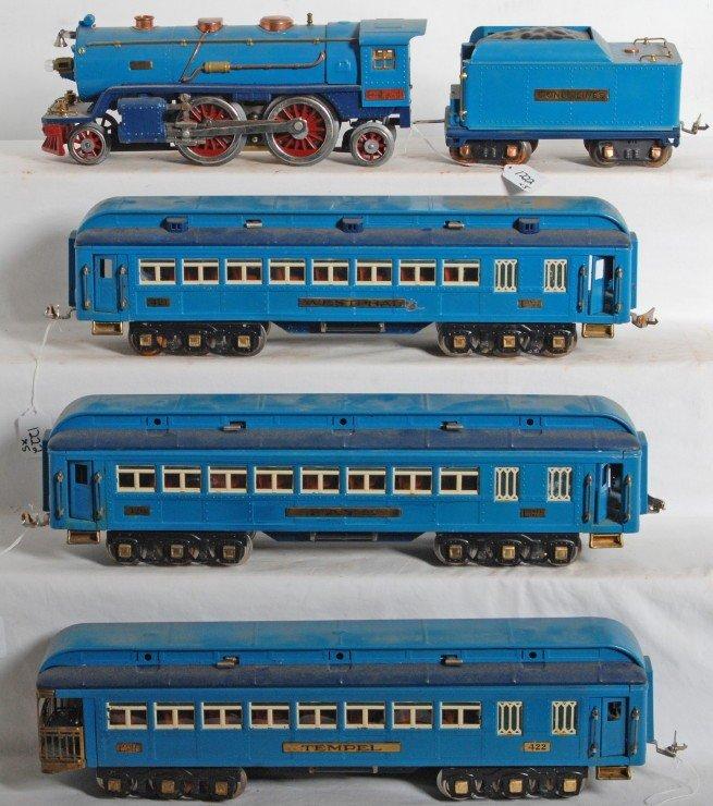 1222: Lionel 390-E loco & tender w/Blue Comet passenger