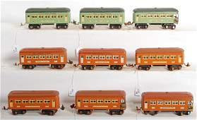 1411 Nine Lionel O gauge passenger cars