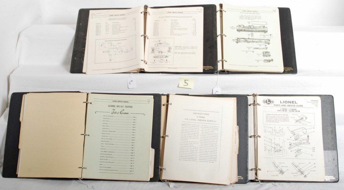 5: Five binders of postwar Lionel service manuals
