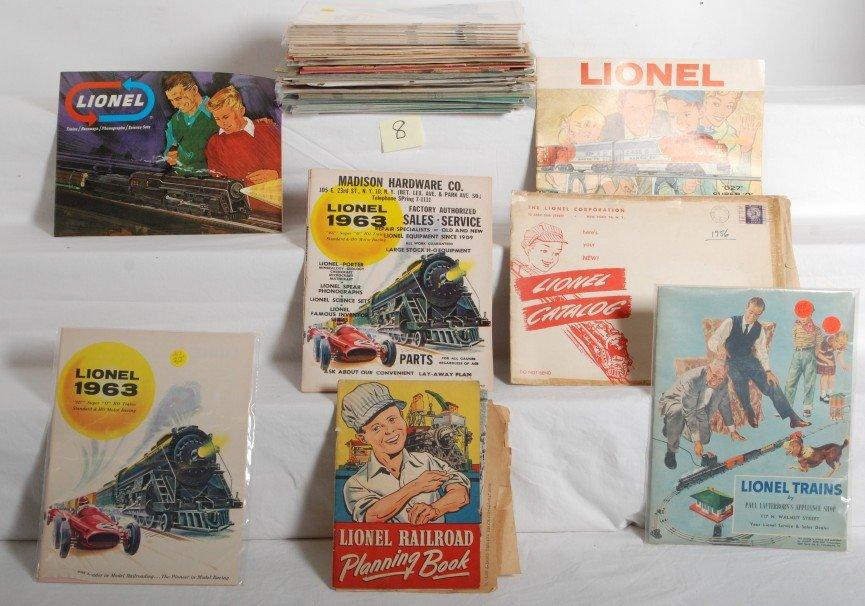 8: Large lot of Lionel postwar catalogs, Mint to Pulp