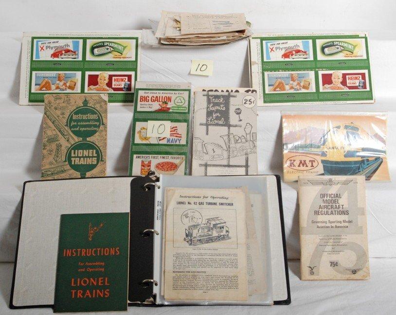 10: Lionel postwar instruction sheets, billboards,...