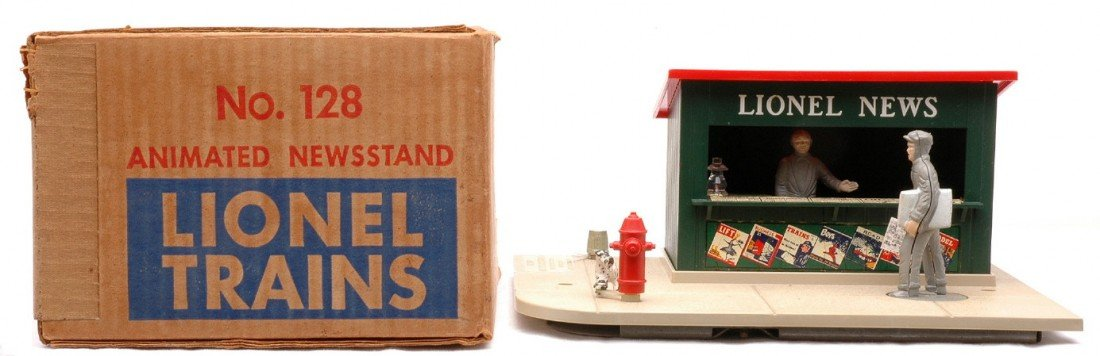 3: Lionel 128 Animated Newsstand LIKE NEW OB