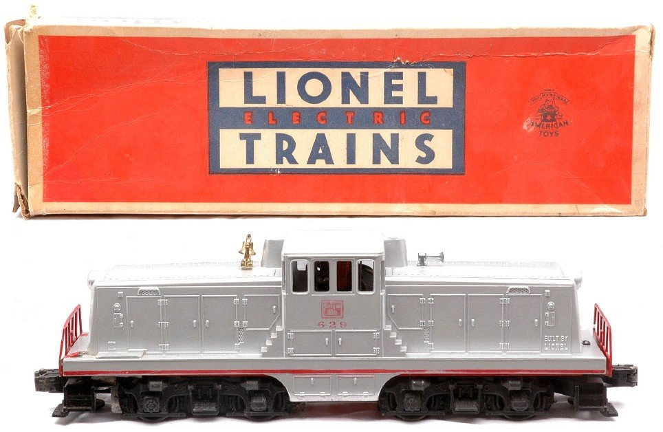 10: Lionel 629 Silver Burlington GE Switcher OB