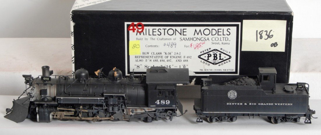 1836: Milestone D&RGW K-36 2-8-2 steam locomotive