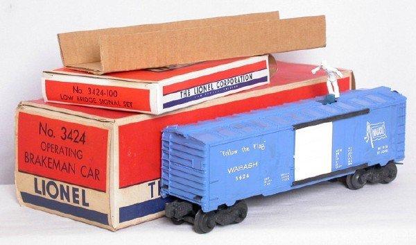 2006: Nice Lionel 3424 Wabash operating boxcar, OB