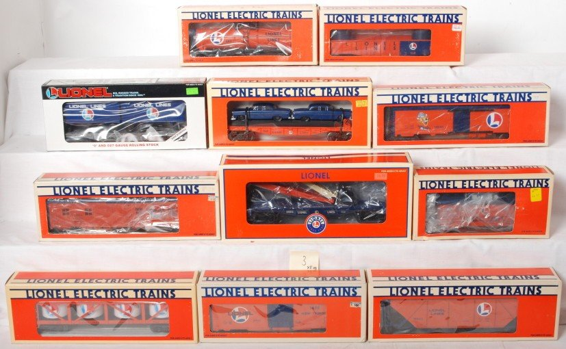 3: 11 Lionel Lines freight cars 6313 6214, 26813, etc.