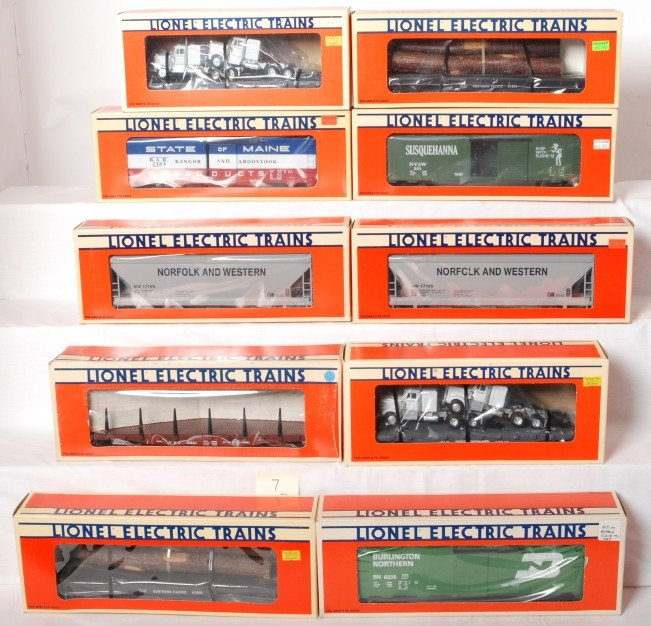 7: 10 Lionel mixed freight cars 17109, 17510, 17218, et