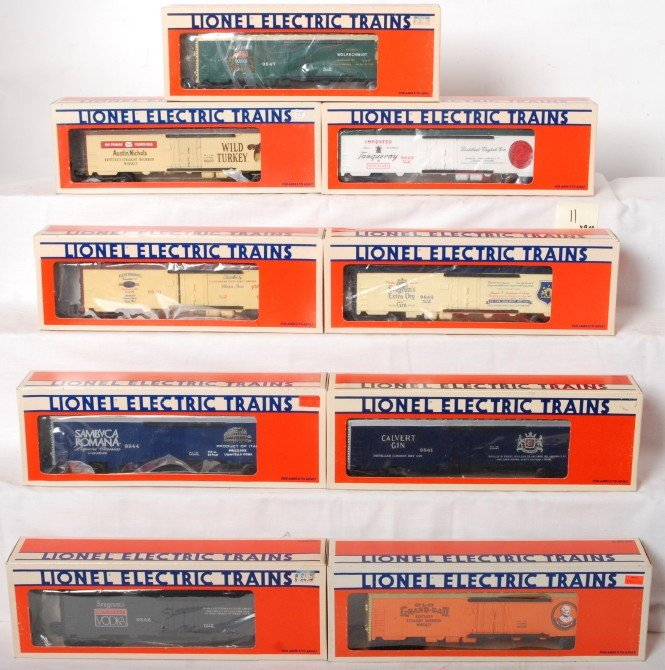 11: 9 Lionel alcohol related reefers 9841, 9843, 9837,