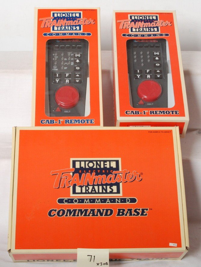 71: Lionel TMCC base and two Cab-1 remotes