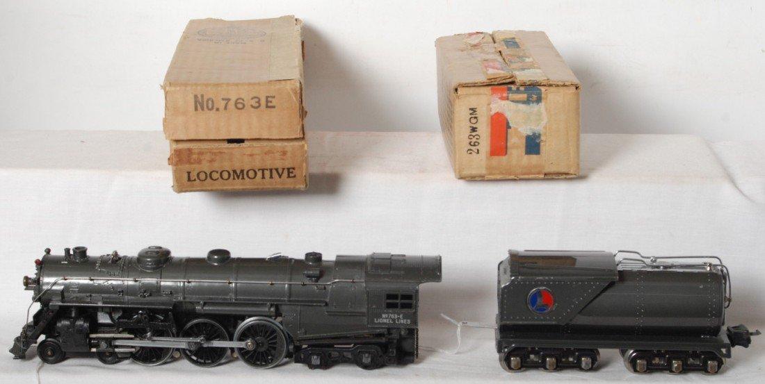 908: Nice Lionel prewar 763E gray loco, tender, OB