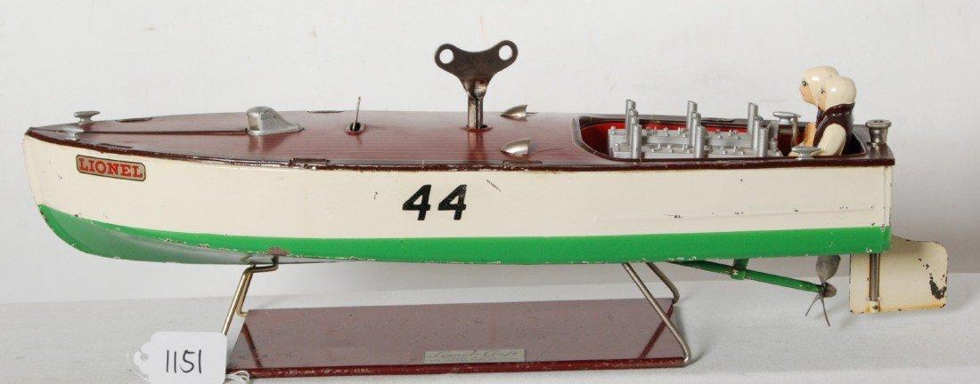 1151: Lionel No. 44 Lionel-Craft speed boat on base