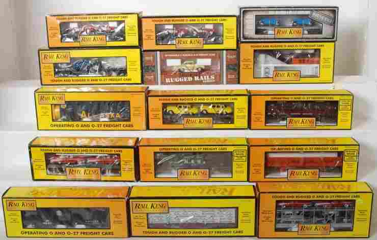 2: 15 MTH Railking freight cars 7624, 7610, 7390, etc.