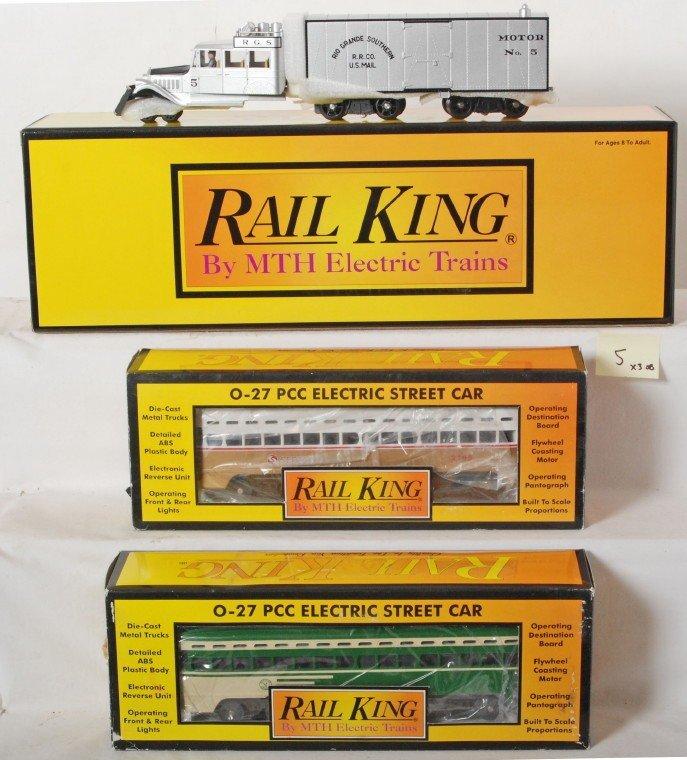 5: 3 Railking PCC cars and Rio Grande goose