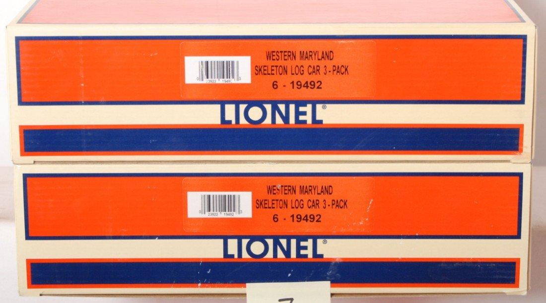 7: 2 Lionel Western Maryland skeleton log car 3 pack