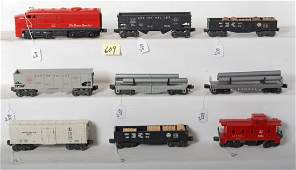 609: Lionel 1055, 6472, flatcars, 2452, 2452, 2456, 645