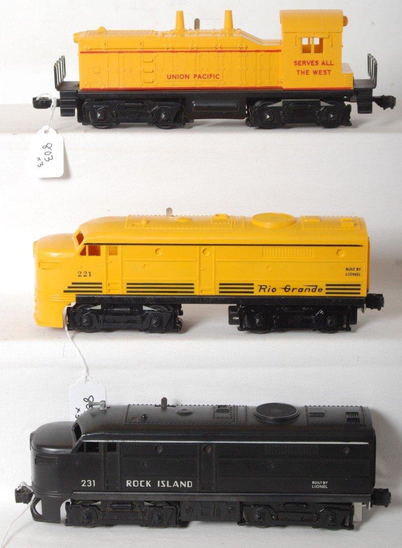 803: Lionel No. 645, 221, 231 diesel locomotives