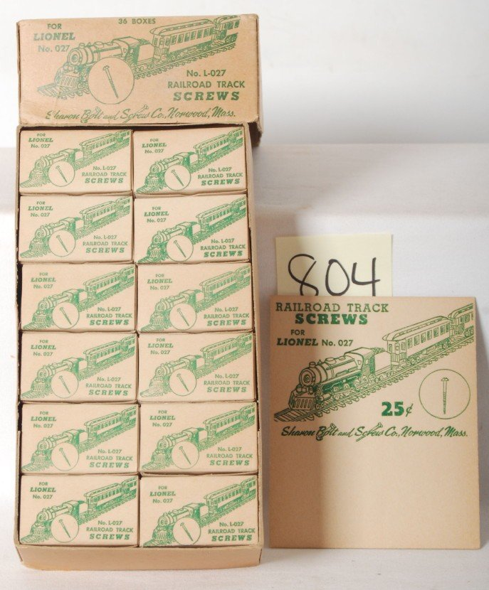 804: Counter top sales box of track screws for Lionel N